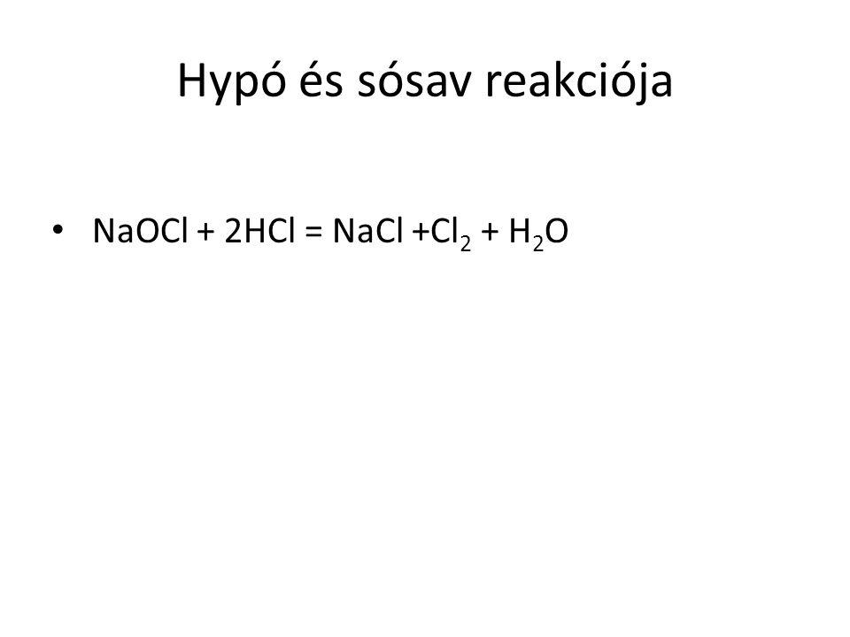 Hypó és sósav reakciója NaOCl + 2HCl = NaCl +Cl 2 + H 2 O