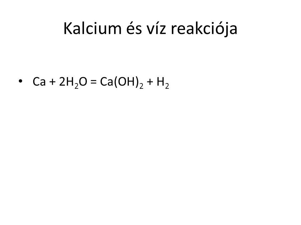 Kalcium és víz reakciója Ca + 2H 2 O = Ca(OH) 2 + H 2