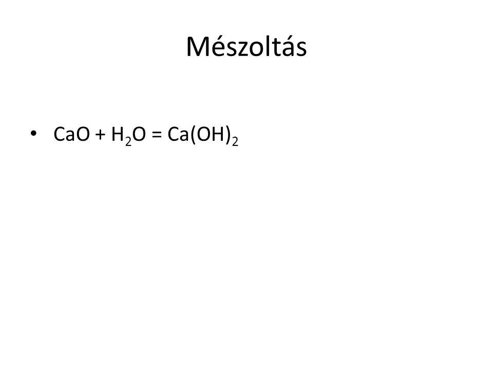 Mészoltás CaO + H 2 O = Ca(OH) 2