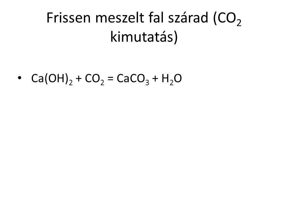 Frissen meszelt fal szárad (CO 2 kimutatás) Ca(OH) 2 + CO 2 = CaCO 3 + H 2 O