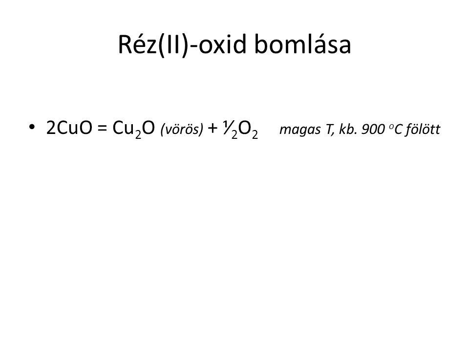 Réz(II)-oxid bomlása 2CuO = Cu 2 O (vörös) + ⅟ 2 O 2 magas T, kb. 900 o C fölött