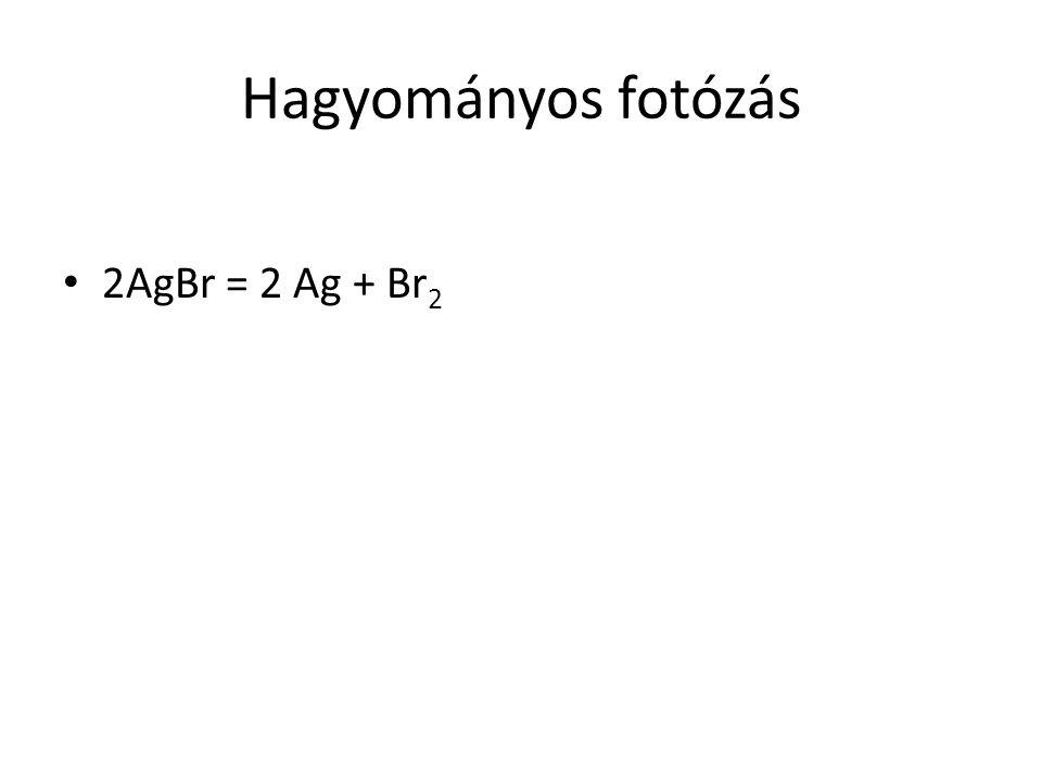Hagyományos fotózás 2AgBr = 2 Ag + Br 2