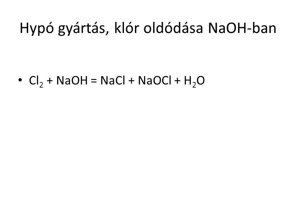 Hypó gyártás, klór oldódása NaOH-ban Cl 2 + NaOH = NaCl + NaOCl + H 2 O