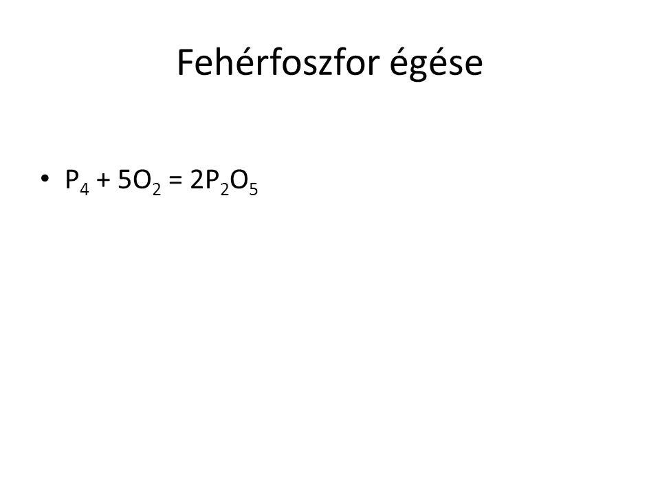 Fehérfoszfor égése P 4 + 5O 2 = 2P 2 O 5