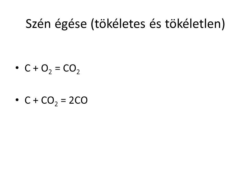 Szén égése (tökéletes és tökéletlen) C + O 2 = CO 2 C + CO 2 = 2CO