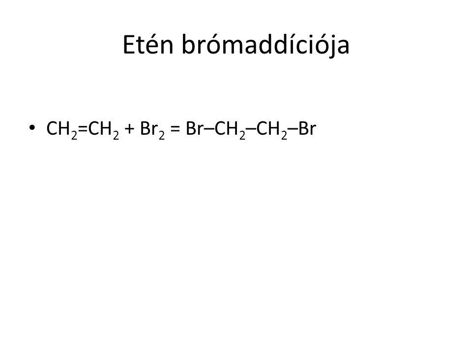 Etén brómaddíciója CH 2 =CH 2 + Br 2 = Br–CH 2 –CH 2 –Br
