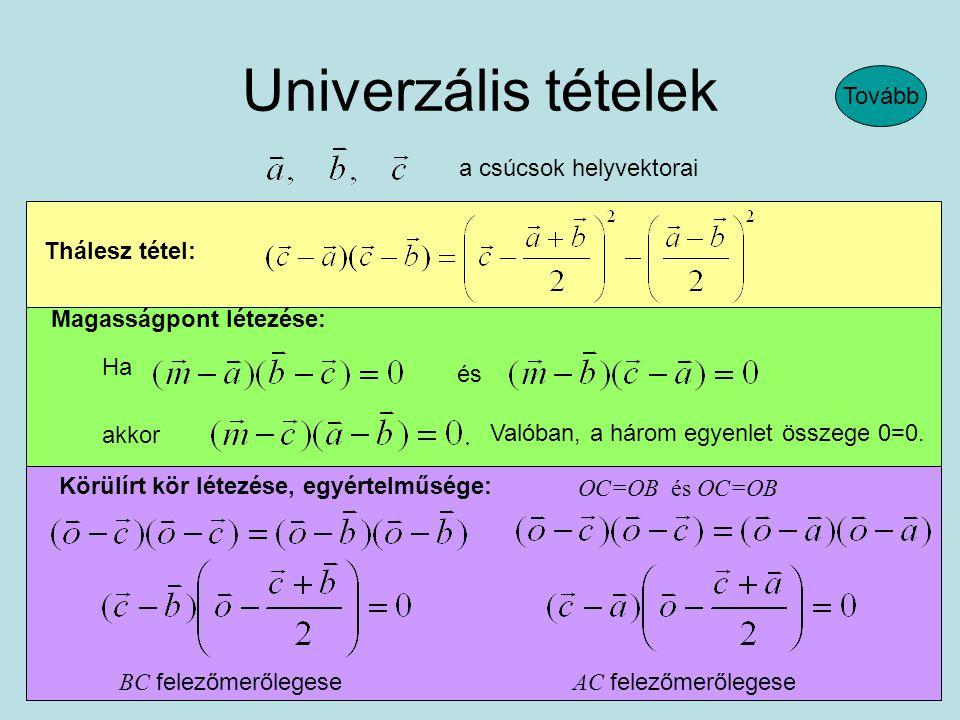 Thálesz tétel: Univerzális tételek Magasságpont létezése: Ha és akkor Valóban, a három egyenlet összege 0=0.
