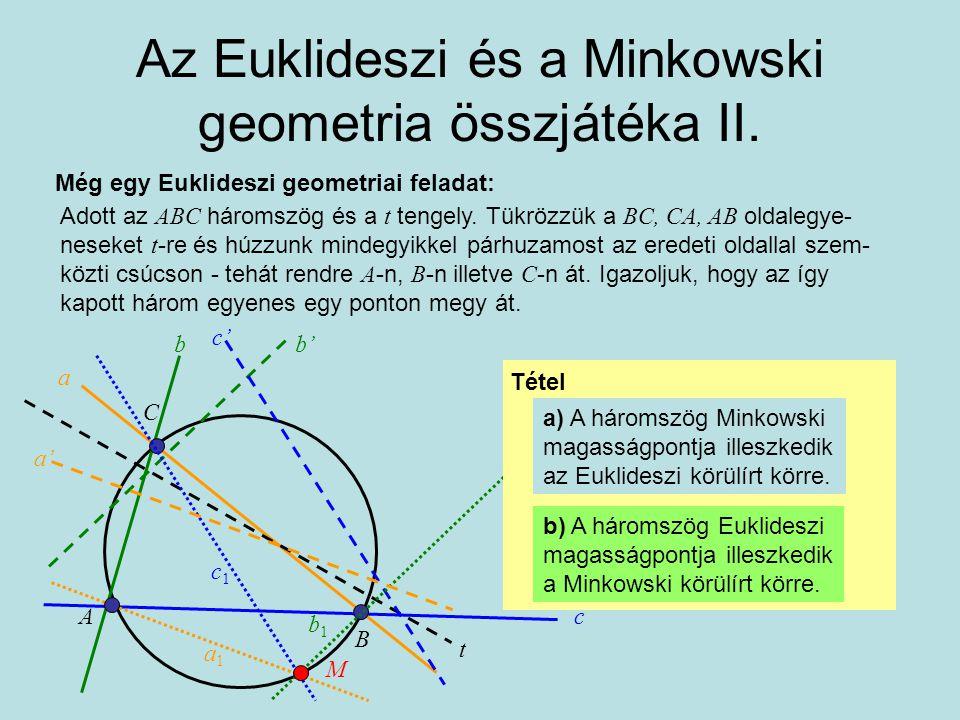 Az Euklideszi és a Minkowski geometria összjátéka II.