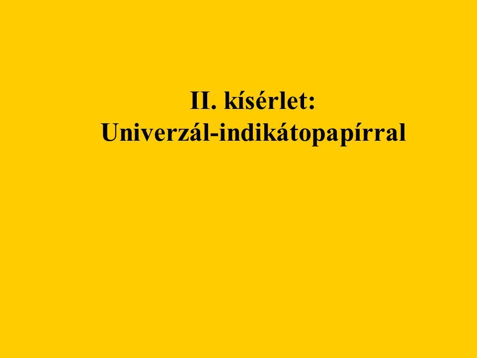 II. kísérlet: Univerzál-indikátopapírral