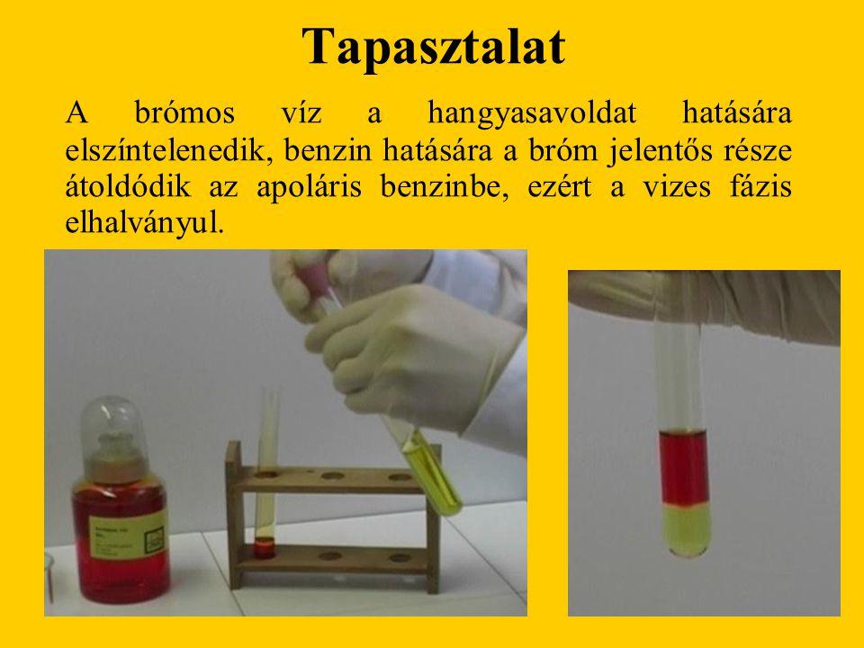 Tapasztalat A brómos víz a hangyasavoldat hatására elszíntelenedik, benzin hatására a bróm jelentős része átoldódik az apoláris benzinbe, ezért a vizes fázis elhalványul.