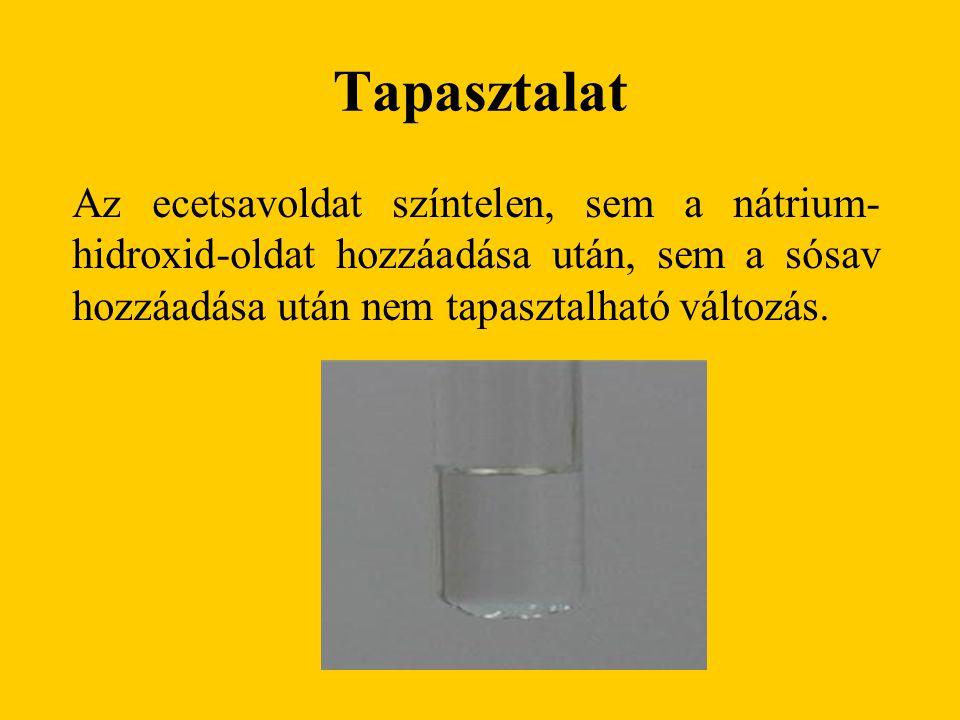 Tapasztalat Az ecetsavoldat színtelen, sem a nátrium- hidroxid-oldat hozzáadása után, sem a sósav hozzáadása után nem tapasztalható változás.
