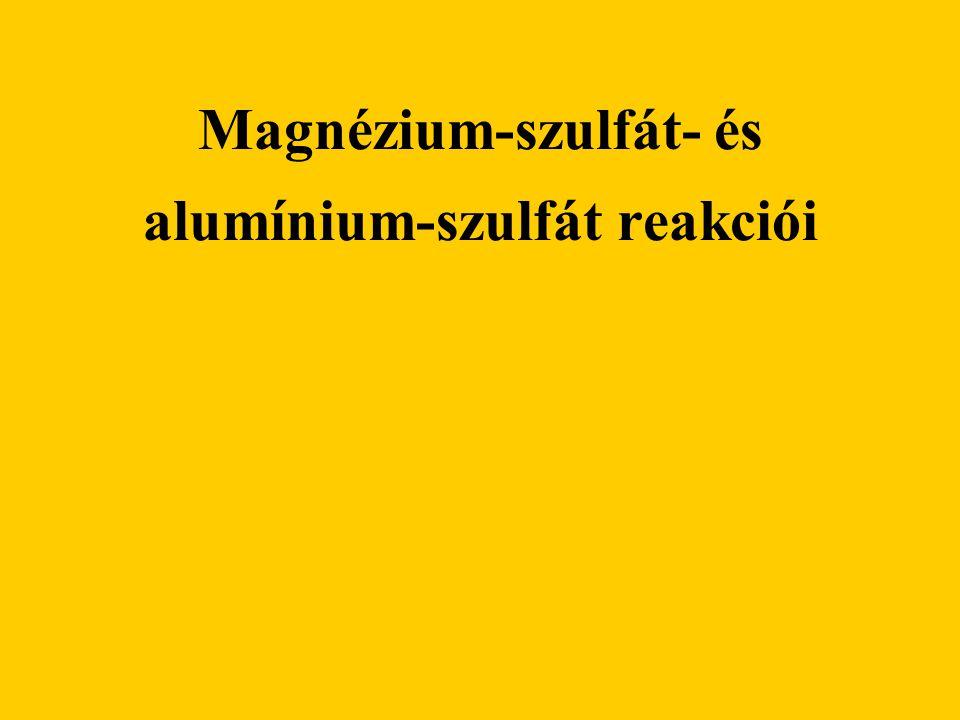 Szükséges Eszközök: műanyag tálca kémcsövek gumikesztyű védőszemüveg Anyagok: magnézium-szulfát oldat (Mg 2 SO 4 ), alumínium-szulfát (Al 2 (SO 4 ) 3 ) oldat nátrium-hidroxid (NaOH) oldat sósav (HCl)