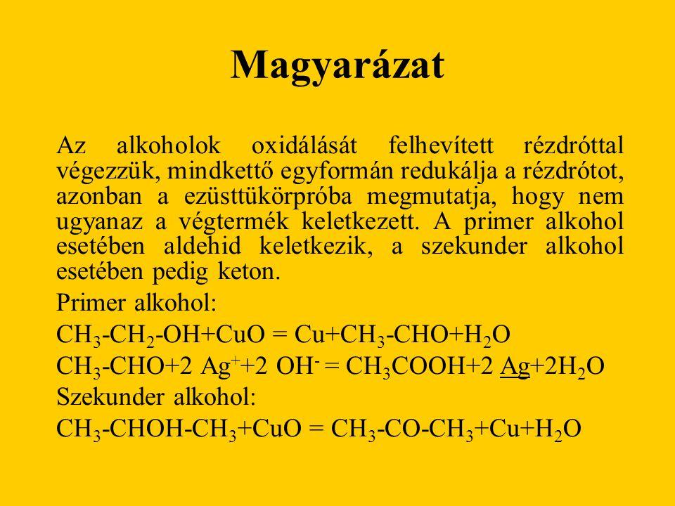 Magyarázat Az alkoholok oxidálását felhevített rézdróttal végezzük, mindkettő egyformán redukálja a rézdrótot, azonban a ezüsttükörpróba megmutatja, h