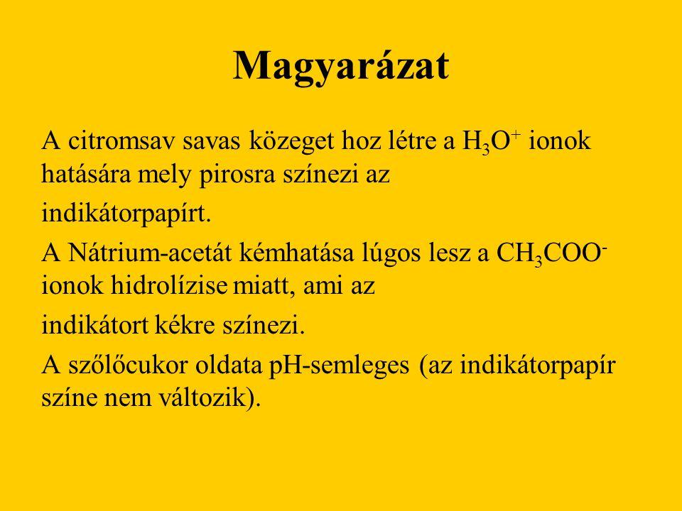 Magyarázat A citromsav savas közeget hoz létre a H 3 O + ionok hatására mely pirosra színezi az indikátorpapírt. A Nátrium-acetát kémhatása lúgos lesz