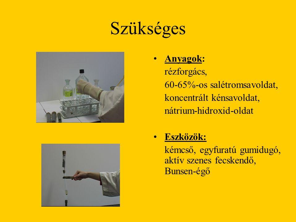 Szükséges Anyagok: rézforgács, 60-65%-os salétromsavoldat, koncentrált kénsavoldat, nátrium-hidroxid-oldat Eszközök: kémcső, egyfuratú gumidugó, aktív