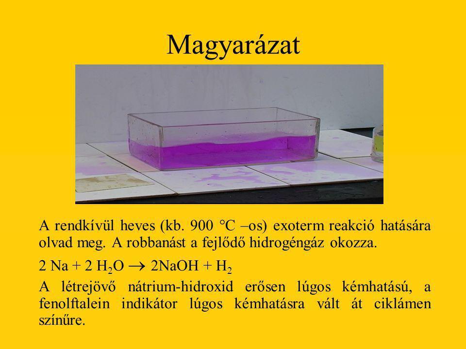 Magyarázat A rendkívül heves (kb. 900 °C –os) exoterm reakció hatására olvad meg. A robbanást a fejlődő hidrogéngáz okozza. 2 Na + 2 H 2 O  2NaOH + H