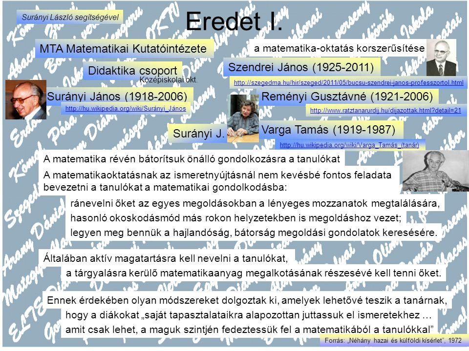 Varga Tamás (1919-1987) http://hu.wikipedia.org/wiki/Varga_Tamás_(tanár) Eredet I. MTA Matematikai Kutatóintézete Surányi J. A matematika révén bátorí