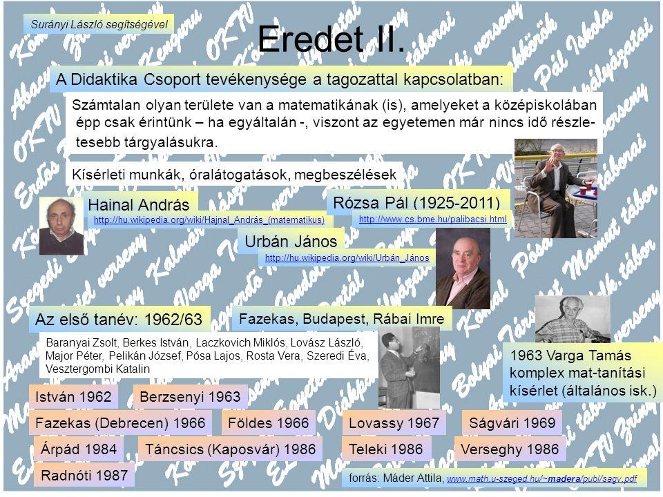 """A Fazekas Kőváry Károly (1923-2003) http://home.fazekas.hu/~lsuranyi/kavics.htm Maximálisan figyelt kollegái problémáira, hagyta őket szabadon kísérletezni mestere volt a diákok bátorításának annak, hogy merjenek ötleteket keresni Óráin: """"alkotóműhely-munka hangulat """"szuper-szakkör matematika-tábor A diákok kötetlen szitu- ációban """"matematizálnak Nyári továbbképzés Urbán János, Surányi János 1994 óta tavaszi továbbképzés mindig másik iskolában Tanár tanítványai: Surányi László Táborné Vincze Márta 1992-től egyre több tagozat hat évfolyamos Óraszámok: 5+5+8+8+7+7 Fazekas A Specmat"""