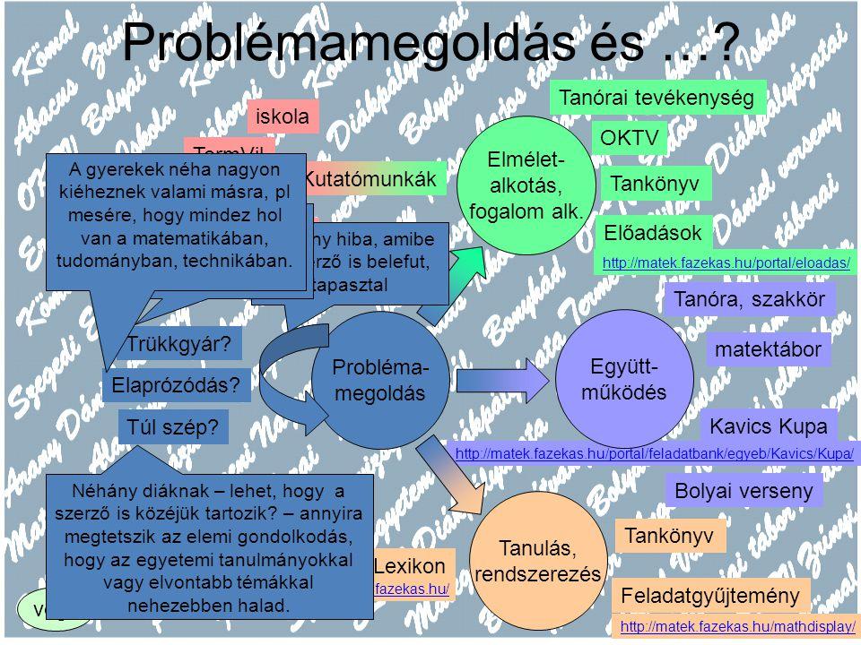 http://matek.fazekas.hu/portal/feladatbank/egyeb/Kavics/Kupa/ Problémamegoldás és …? Probléma- megoldás Együtt- működés Elmélet- alkotás, fogalom alk.