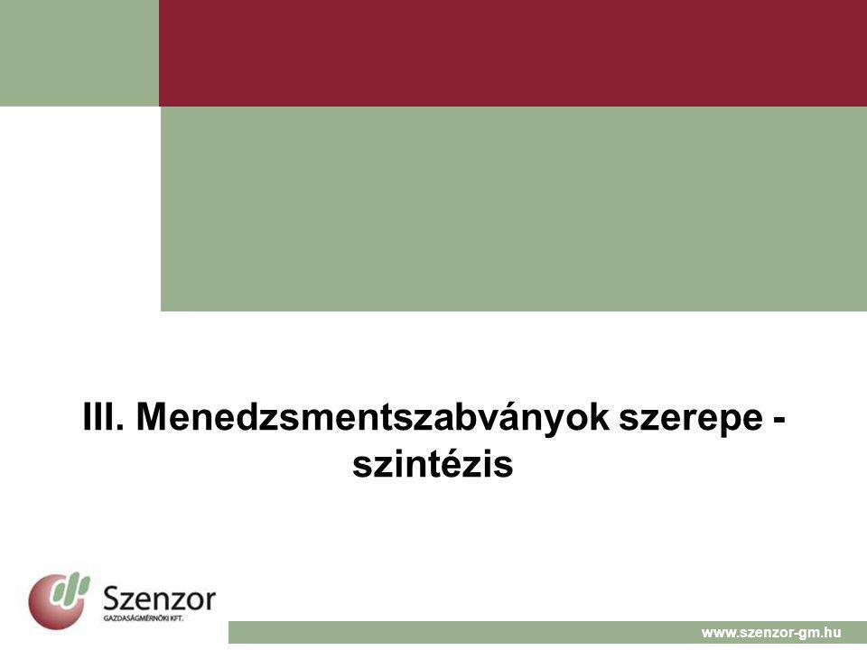 III. Menedzsmentszabványok szerepe - szintézis www.szenzor-gm.hu