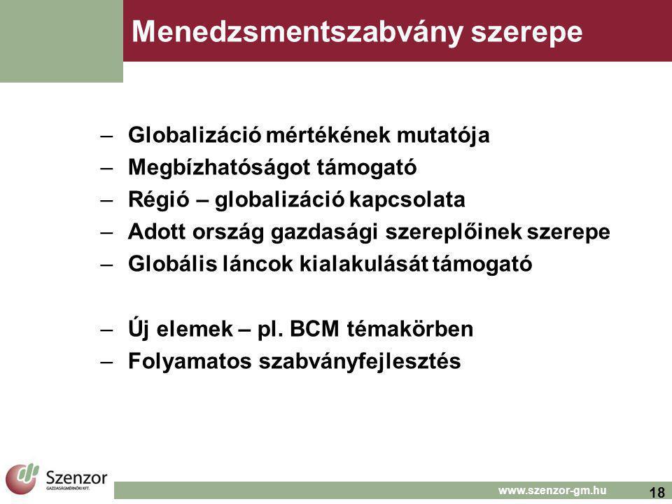 18 www.szenzor-gm.hu Menedzsmentszabvány szerepe –Globalizáció mértékének mutatója –Megbízhatóságot támogató –Régió – globalizáció kapcsolata –Adott ország gazdasági szereplőinek szerepe –Globális láncok kialakulását támogató –Új elemek – pl.
