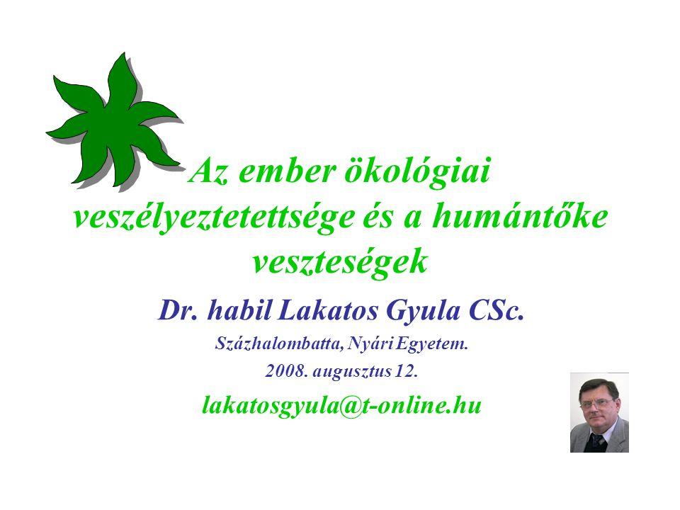 Az ember ökológiai veszélyeztetettsége és a humántőke veszteségek Dr. habil Lakatos Gyula CSc. Százhalombatta, Nyári Egyetem. 2008. augusztus 12. laka