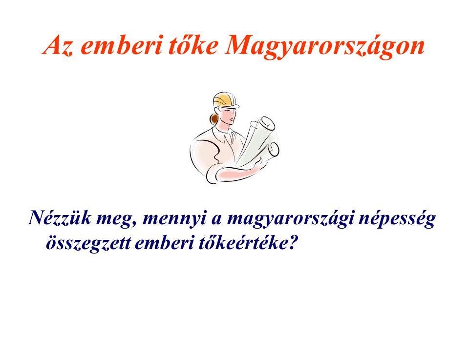 Az emberi tőke Magyarországon Nézzük meg, mennyi a magyarországi népesség összegzett emberi tőkeértéke?