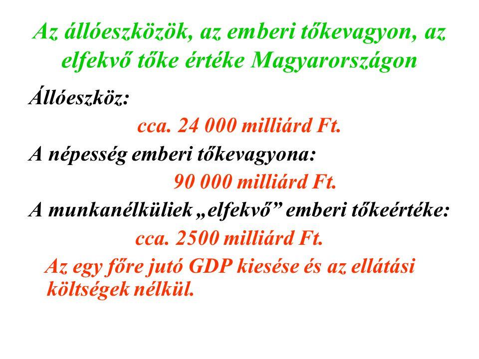 Az állóeszközök, az emberi tőkevagyon, az elfekvő tőke értéke Magyarországon Állóeszköz: cca. 24 000 milliárd Ft. A népesség emberi tőkevagyona: 90 00