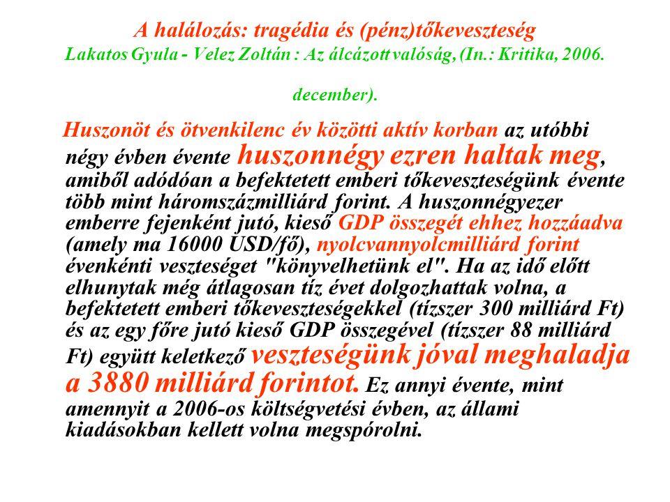 A halálozás: tragédia és (pénz)tőkeveszteség Lakatos Gyula - Velez Zoltán : Az álcázott valóság, (In.: Kritika, 2006. december). Huszonöt és ötvenkile