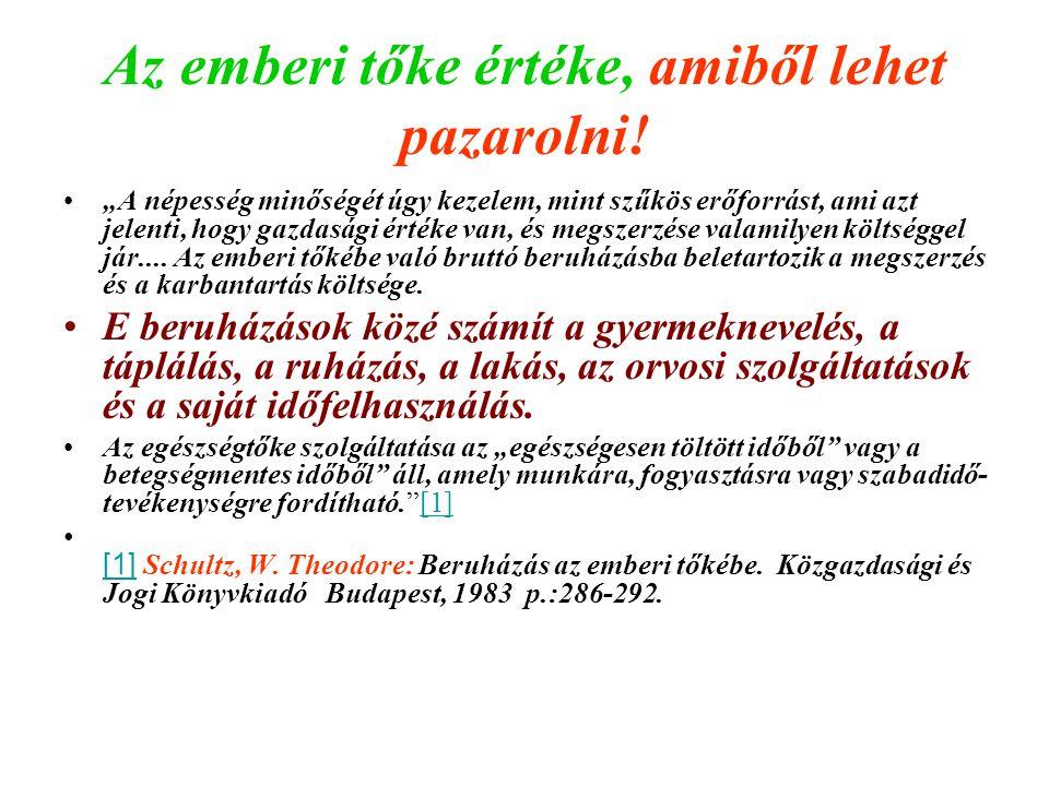Az állóeszközök, az emberi tőkevagyon, az elfekvő tőke értéke Magyarországon Állóeszköz: cca.