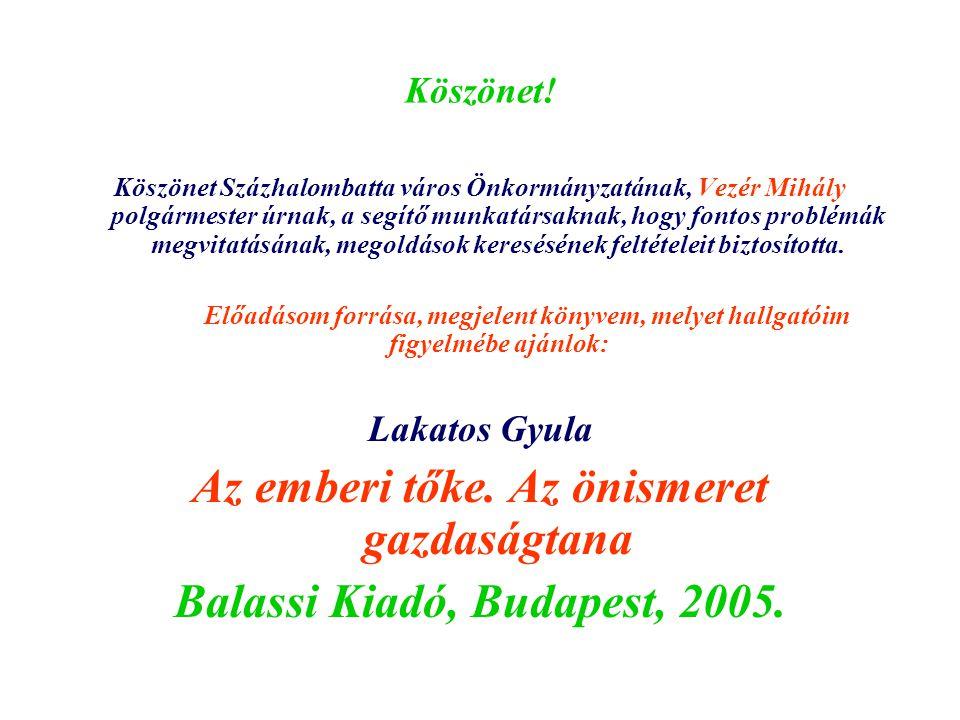 Köszönet! Köszönet Százhalombatta város Önkormányzatának, Vezér Mihály polgármester úrnak, a segítő munkatársaknak, hogy fontos problémák megvitatásán