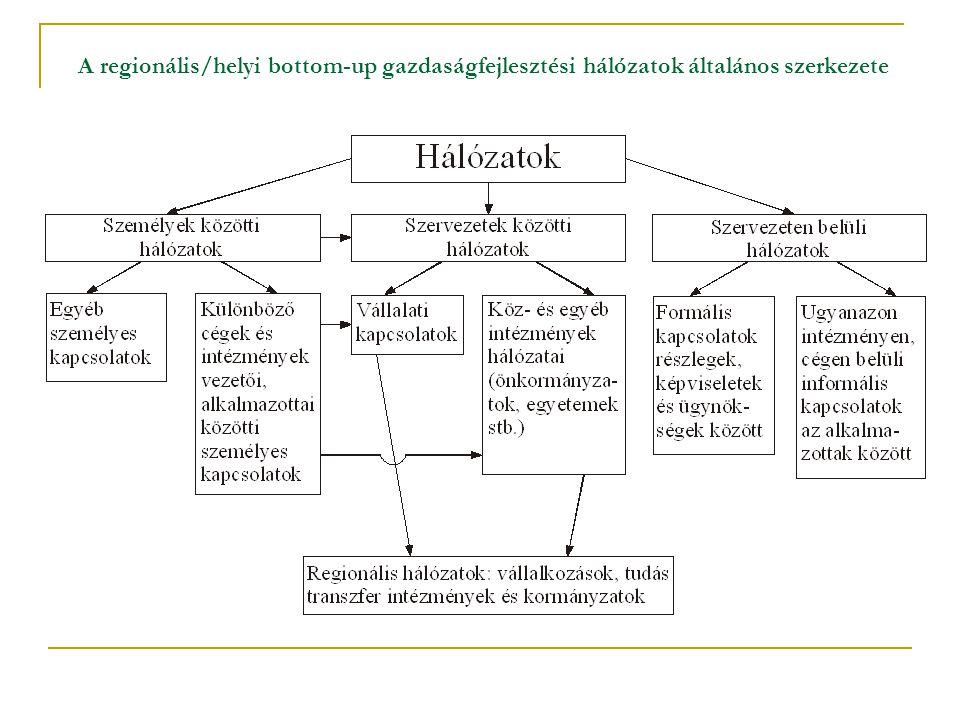 A regionális/helyi bottom-up gazdaságfejlesztési hálózatok általános szerkezete