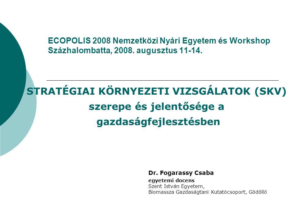 ECOPOLIS 2008 Nemzetközi Nyári Egyetem és Workshop Százhalombatta, 2008.