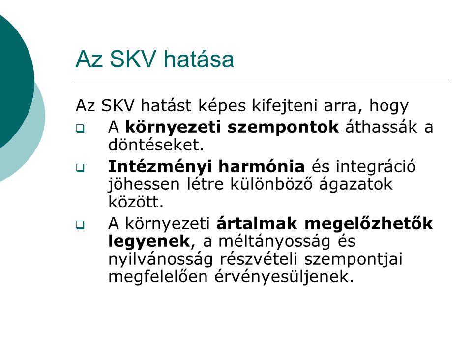 Az SKV hatása Az SKV hatást képes kifejteni arra, hogy  A környezeti szempontok áthassák a döntéseket.