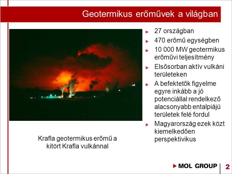 2 Krafla geotermikus erőmű a kitört Krafla vulkánnal 27 országban 470 erőmű egységben 10 000 MW geotermikus erőművi teljesítmény Elsősorban aktív vulk