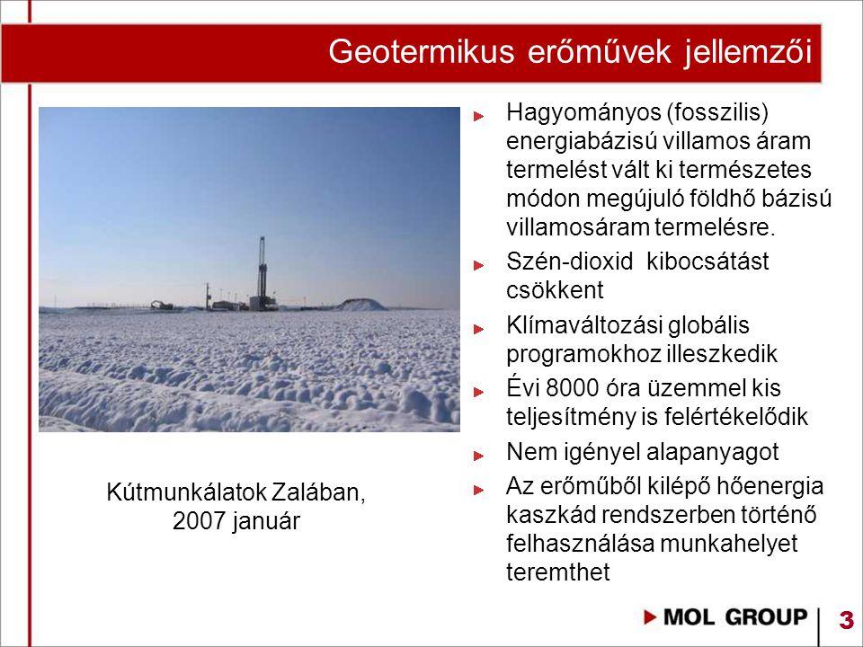 3 Kútmunkálatok Zalában, 2007 január Hagyományos (fosszilis) energiabázisú villamos áram termelést vált ki természetes módon megújuló földhő bázisú vi