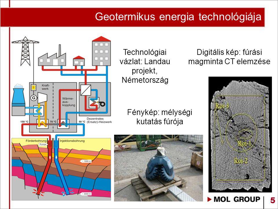 5 Geotermikus energia technológiája Technológiai vázlat: Landau projekt, Németország Fénykép: mélységi kutatás fúrója Digitális kép: fúrási magminta C