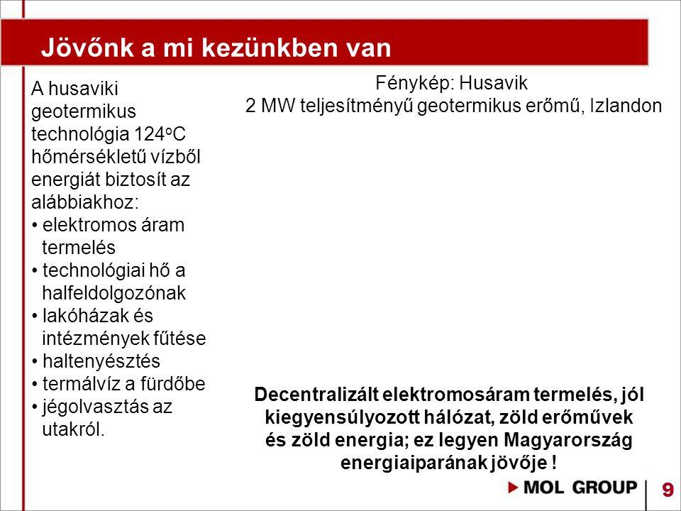 9 Jövőnk a mi kezünkben van A husaviki geotermikus technológia 124 o C hőmérsékletű vízből energiát biztosít az alábbiakhoz: elektromos áram termelés