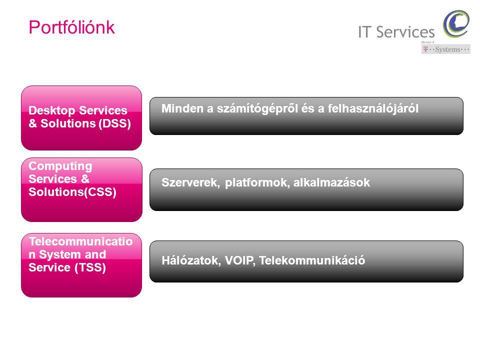 Desktop Services & Solutions (DSS) Computing Services & Solutions(CSS) Telecommunicatio n System and Service (TSS) Minden a számítógépről és a felhasználójáról Szerverek, platformok, alkalmazások Hálózatok, VOIP, Telekommunikáció Portfóliónk