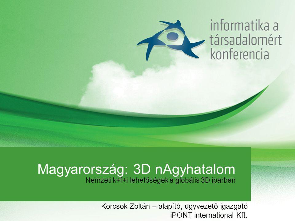 Magyarország: 3D nAgyhatalom Nemzeti k+f+i lehetőségek a globális 3D iparban Korcsok Zoltán – alapító, ügyvezető igazgató iPONT international Kft.