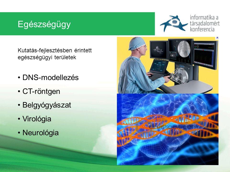 Egészségügy Kutatás-fejlesztésben érintett egészségügyi területek DNS-modellezés CT-röntgen Belgyógyászat Virológia Neurológia