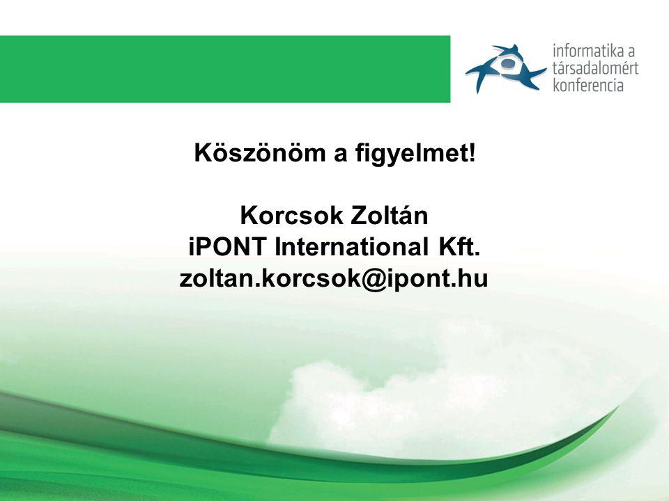 Köszönöm a figyelmet! Korcsok Zoltán iPONT International Kft. zoltan.korcsok@ipont.hu