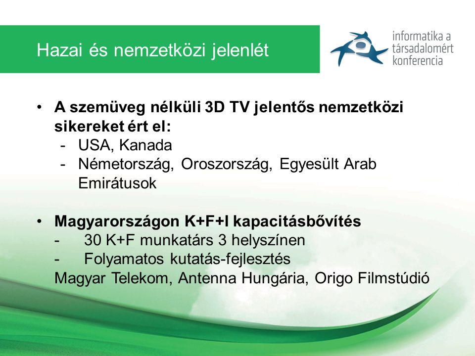 Hazai és nemzetközi jelenlét A szemüveg nélküli 3D TV jelentős nemzetközi sikereket ért el: -USA, Kanada -Németország, Oroszország, Egyesült Arab Emirátusok Magyarországon K+F+I kapacitásbővítés - 30 K+F munkatárs 3 helyszínen - Folyamatos kutatás-fejlesztés Magyar Telekom, Antenna Hungária, Origo Filmstúdió