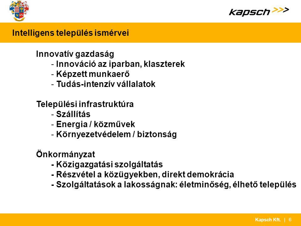 | 6Kapsch Kft. Intelligens település ismérvei Innovatív gazdaság - Innováció az iparban, klaszterek - Képzett munkaerő - Tudás-intenzív vállalatok Tel