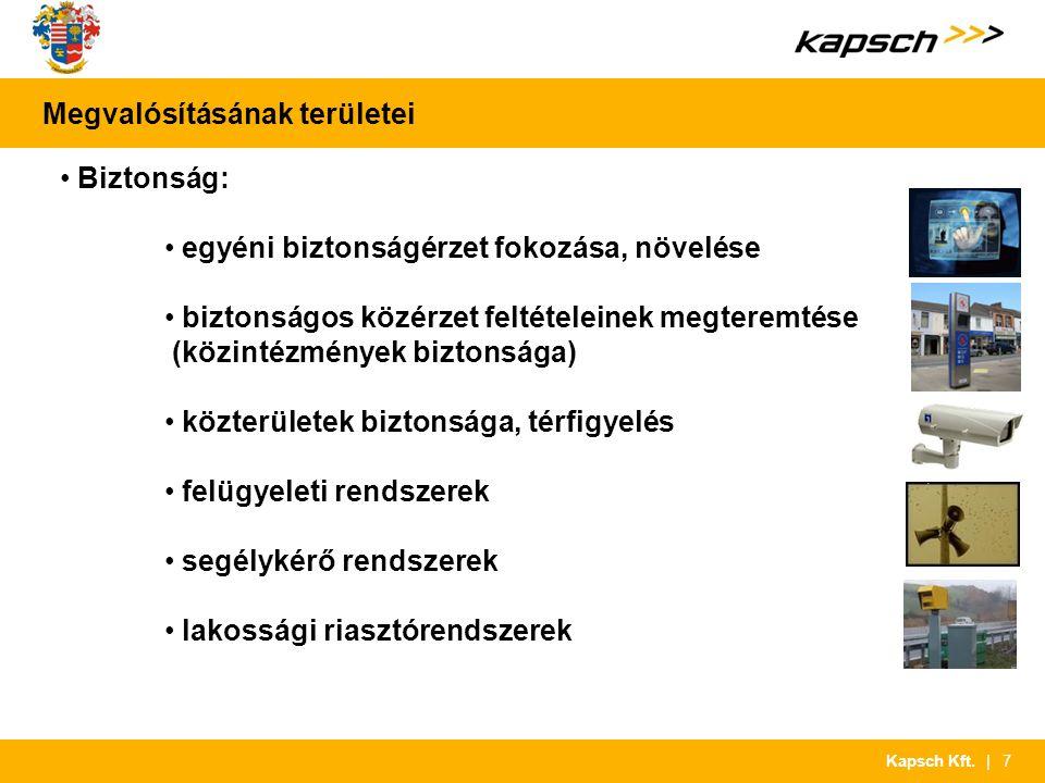 | 7Kapsch Kft. Megvalósításának területei Biztonság: egyéni biztonságérzet fokozása, növelése biztonságos közérzet feltételeinek megteremtése (közinté