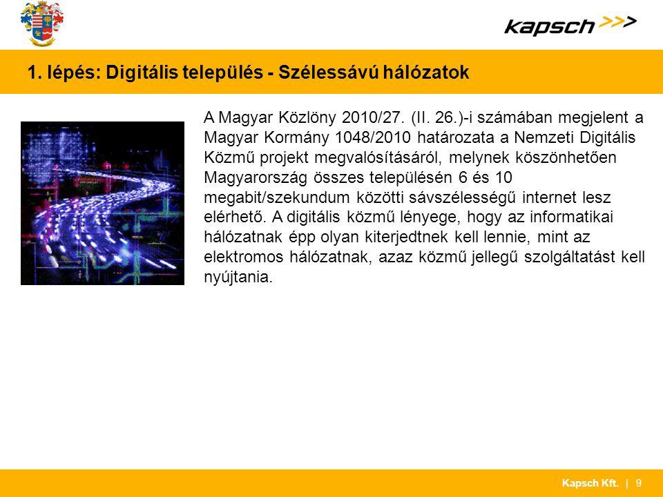 | 9Kapsch Kft. 1. lépés: Digitális település - Szélessávú hálózatok A Magyar Közlöny 2010/27. (II. 26.)-i számában megjelent a Magyar Kormány 1048/201