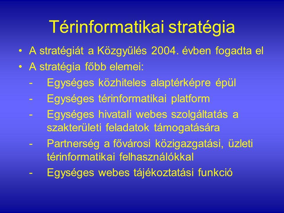 Térinformatikai stratégia A stratégiát a Közgyűlés 2004. évben fogadta el A stratégia főbb elemei: - Egységes közhiteles alaptérképre épül - Egységes