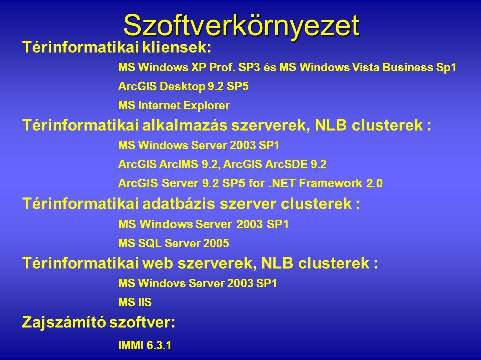 Szoftverkörnyezet Térinformatikai kliensek: MS Windows XP Prof. SP3 és MS Windows Vista Business Sp1 ArcGIS Desktop 9.2 SP5 MS Internet Explorer Térin