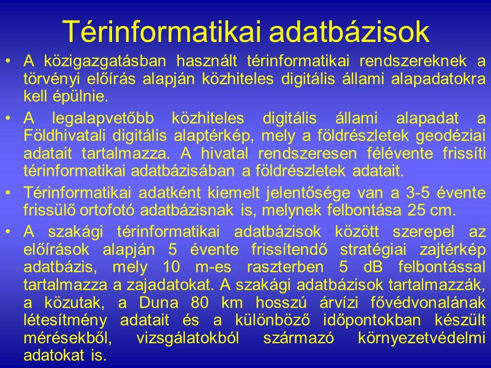 A Budapest Portálon http://www.budapest.hu a törvényi előírások alapján publikált, és jelenleg a portálon bárki számára szabadon elérhető térinformatikai alkalmazások : Fővárosi Szabályozási Keretterv (FSZKT) Árvízi forgalomkorlátozások (jelenleg nincs forgalomkorlátozás) http://terkep.budapest.hu Budapest és Vonzáskörzete Stratégiai Zajtérképe Stratégiai zajtérképhttp://www.budapest.hu http://terkep.budapest.hu Stratégiai zajtérkép LAKOSSÁGI TÁJÉKOZTATÁS