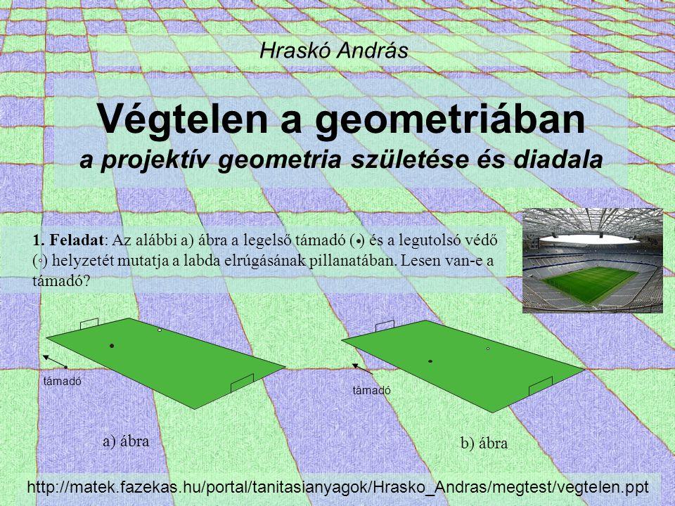 Végtelen a geometriában a projektív geometria születése és diadala Hraskó András 1. Feladat: Az alábbi a) ábra a legelső támadó ( ) és a legutolsó véd